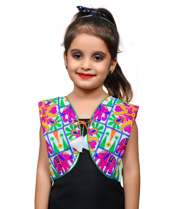 White Haathi Embroidered Jacket For Kids