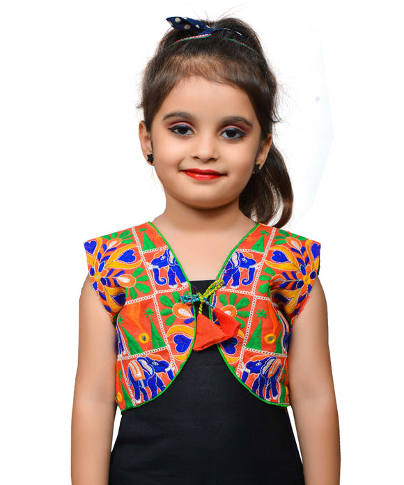 Red Haathi Embroidered Jacket For Kids