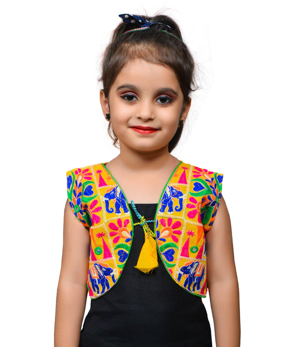 Yellow Haathi Embroidered Jacket For Kids