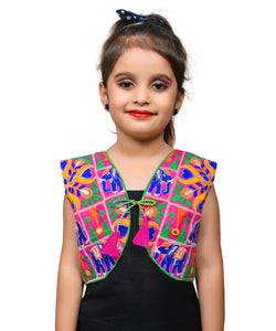 Pink Haathi Embroidered Jacket For Kids