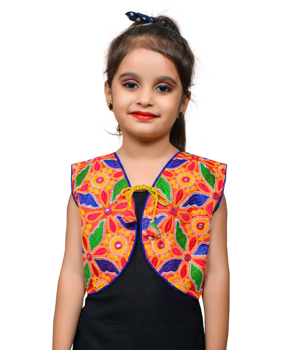 Red Flower Embroidered Jacket For Kids