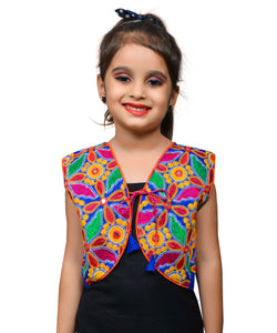 Blue Haathi Embroidered Jacket For Kids