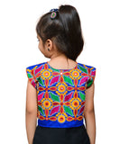 Blue Flower Embroidered Jacket For Kids