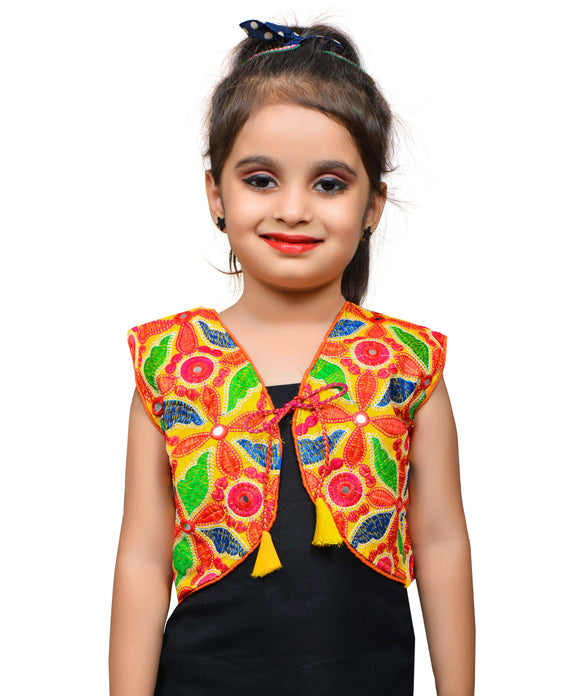 Yellow Flower Embroidered Jacket For Kids
