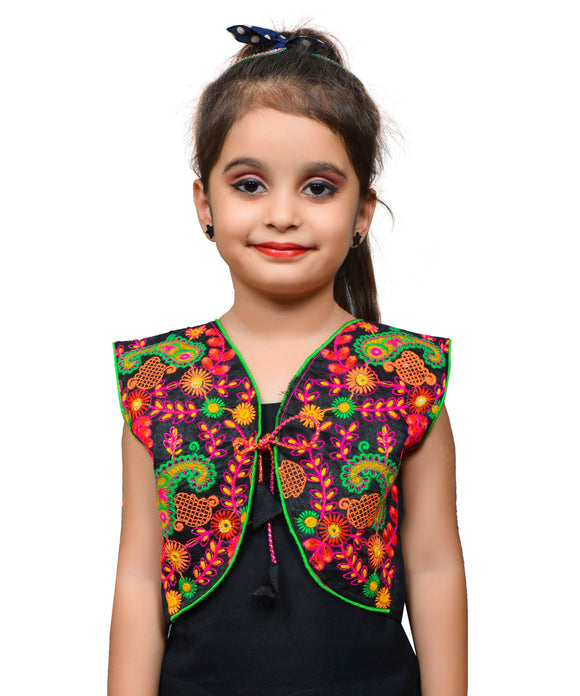 Black Keri Allover Embroidered Jacket For Kids
