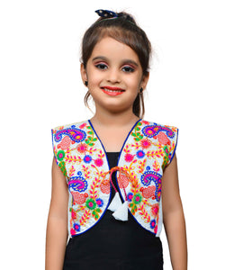 White Keri Allover Embroidered Jacket For Kids