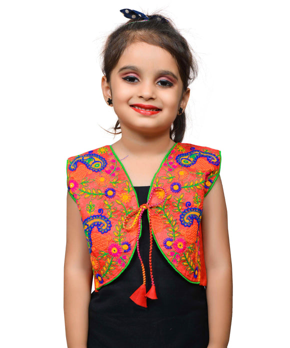 Red Keri Allover Embroidered Jacket For Kids