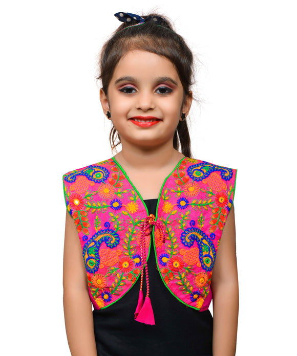 Pink Keri Allover Embroidered Jacket For Kids