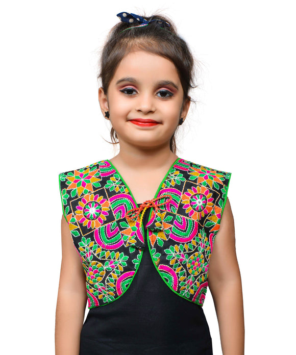Black Mini Embroidered Jacket For Kids