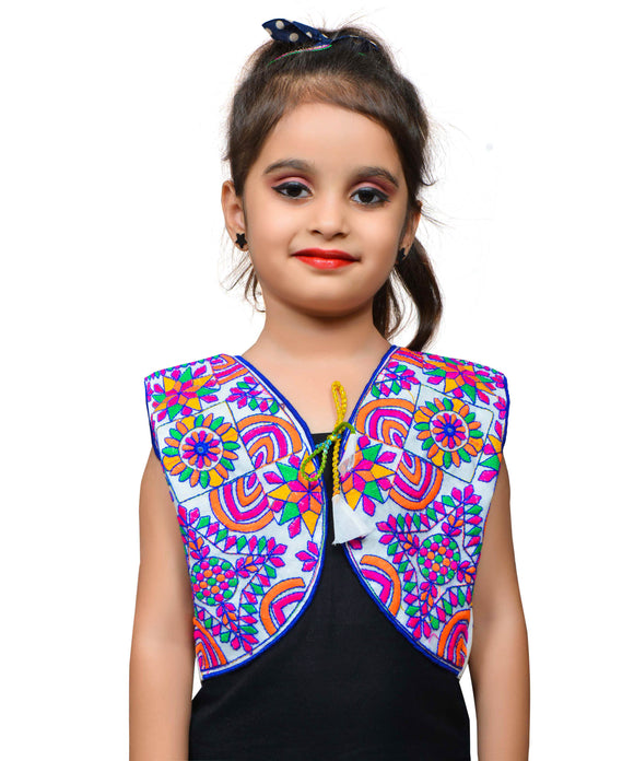 White Mini Embroidered Jacket For Kids