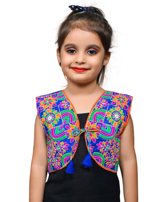 Blue Mini Embroidered Jacket For Kids