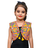 Yellow Mini Embroidered Jacket For Kids