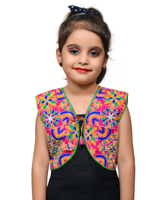 Pink Mini Embroidered Jacket For Kids