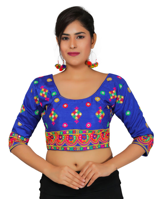 Banjara India Women's Dupion Silk Multicoloured Aari Embroidered Half Sleeves Kutchi Blouse-Blue