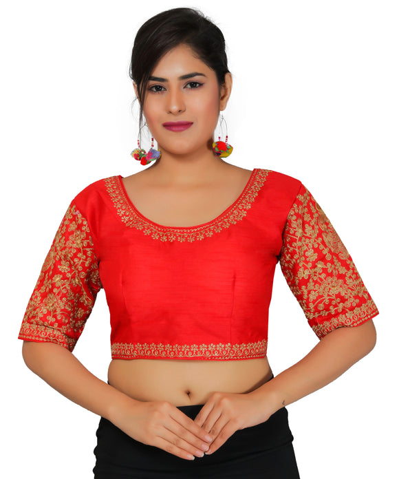 Banjara India Women's Dupion Silk Sleeves Embroidered Half Sleeves Kutchi Blouse-Red