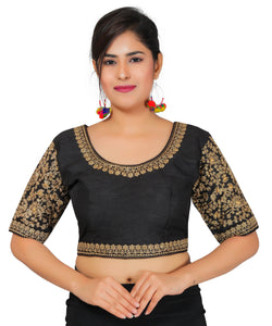 Banjara India Women's Dupion Silk Sleeves Embroidered Half Sleeves Kutchi Blouse-Black