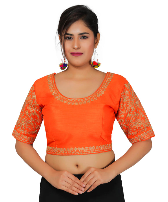 Banjara India Women's Dupion Silk Sleeves Embroidered Half Sleeves Kutchi Blouse-Orange