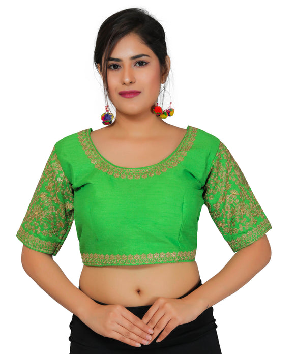 Banjara India Women's Dupion Silk Sleeves Embroidered Half Sleeves Kutchi Blouse-Green
