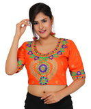 Banjara India Women's Dupion Silk Aari Embroidered Half Sleeves Kutchi Blouse-Orange