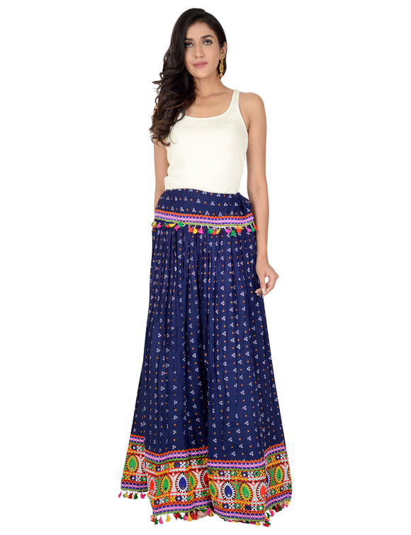 Banjara India Bandhani Print & Kutchi Embroidered Border Rayon Skirt/Chaniya - BandhaniSkirt-NavyBlue
