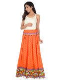 Banjara India Bandhani Print & Kutchi Embroidered Border Rayon Skirt/Chaniya - BandhaniSkirt-Orange