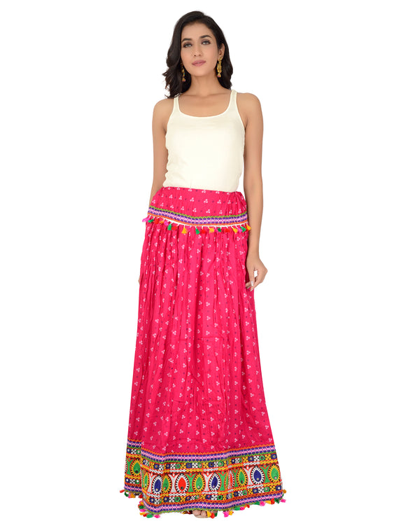 Banjara India Bandhani Print & Kutchi Embroidered Border Rayon Skirt/Chaniya - BandhaniSkirt-Pink
