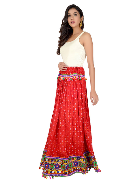 Banjara India Bandhani Print & Kutchi Embroidered Border Rayon Skirt/Chaniya - Bandhani Skirt-Red
