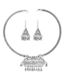 Oxidised Silver Jewellery neckpiece with Jhumka set for Girls and Women-J005
