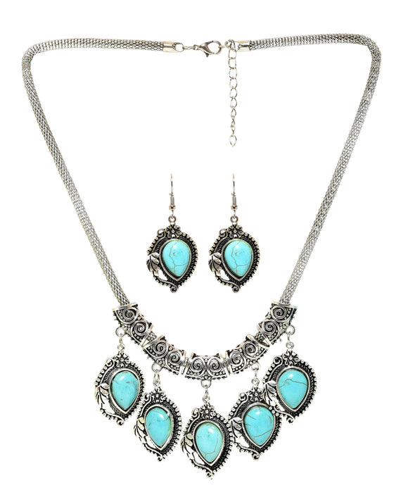 Sky Blue Stone Studded Metallic Set-1-J008