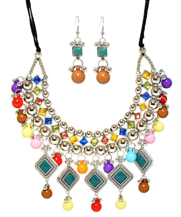 Multicolored Stone Studded Metallic-J015