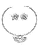 Oxidised Silver Jewellery Flower Combo Set for Girls and Women-J006