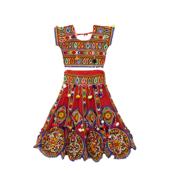 Banjara India Kutchi Embroidered Chaniya Choli For Girls (CC-GOL) - Red