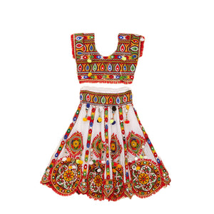 Banjara India Kutchi Embroidered Chaniya Choli For Girls (CC-GOL) - White