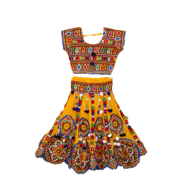 Banjara India Kutchi Embroidered Chaniya Choli For Girls (CC-KDR) - Yellow