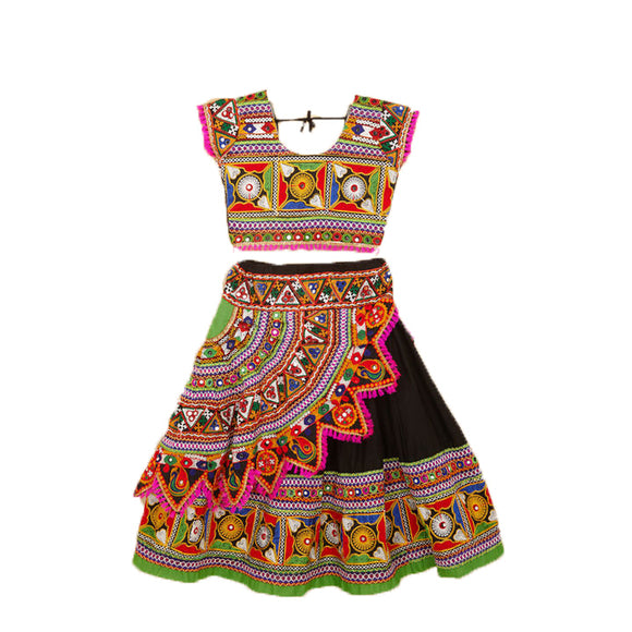 Banjara India Kutchi Embroidered Chaniya Choli For Girls (CC-KDR) - Black