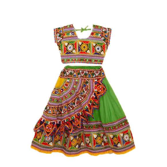 Banjara India Kutchi Embroidered Chaniya Choli For Girls (CC-KDR - Green