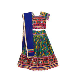 Banjara India Kutchi Embroidered Chaniya Choli For Girls (CC-TGL) - Green + Dupatta
