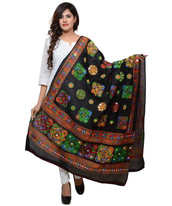 Banjara India Women's Pure Cotton Aari Embroidery & Foil Mirrors Dupatta (Chakachak) Black - CHK01