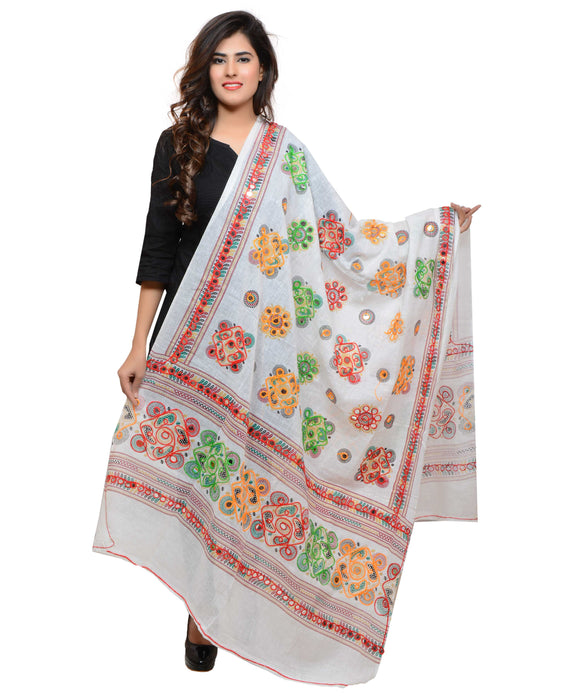 Banjara India Women's Pure Cotton Aari Embroidery & Foil Mirrors Dupatta (Chakachak) White - CHK02