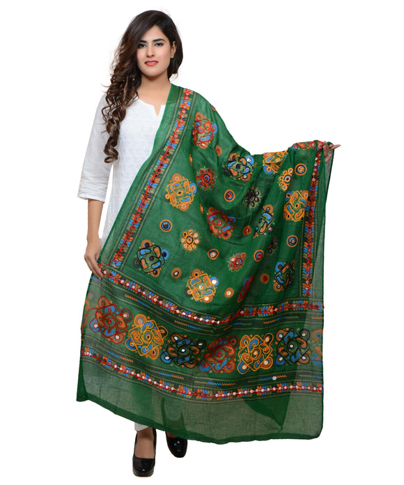 Banjara India Women's Pure Cotton Aari Embroidery & Foil Mirrors Dupatta (Chakachak) Dark Green  - CHK05