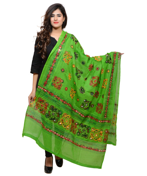 Banjara India Women's Pure Cotton Aari Embroidery & Foil Mirrors Dupatta (Chakachak) Parrot Green - CHK06