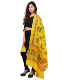 Banjara India Women's Pure Cotton Aari Embroidery & Foil Mirrors Dupatta (Chakachak) Lemon Yellow - CHK08