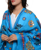 Banjara India Women's Pure Cotton Aari Embroidery & Foil Mirrors Dupatta (Chakachak) Turquoise Blue- CHK13