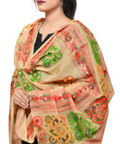 Banjara India Women's Pure Cotton Aari Embroidery & Foil Mirrors Dupatta (Chakachak) Beige - CHK14