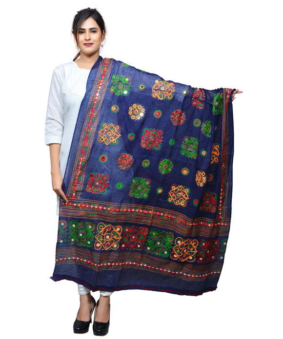 Banjara India Women's Pure Cotton Aari Embroidery & Foil Mirrors Dupatta (Chakachak) Turquoise - CHK15