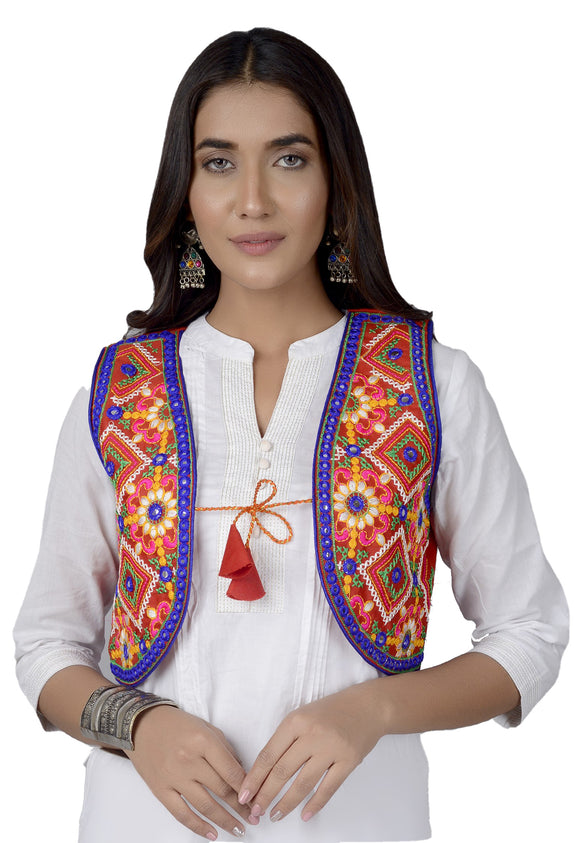 Banjara India Women's Cotton Blend Kutchi Embroidered Sleeveless Short Jacket/Koti/Shrug (CJK-03) -Red