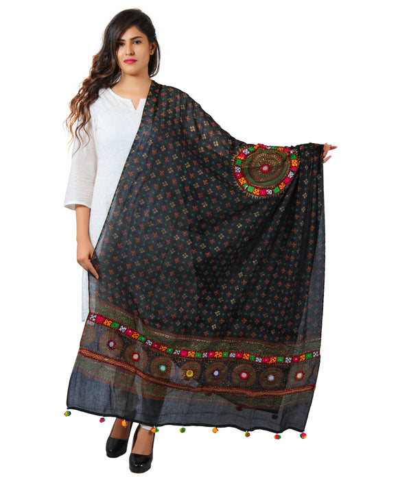 Banjara India Women's Pure Cotton Real Mirrorwork & Hand Embroidery Dupatta (Kutchi Chakkar) Black - CKR01