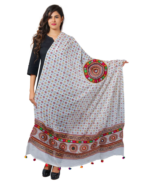 Banjara India Women's Pure Cotton Real Mirrorwork & Hand Embroidery Dupatta (Kutchi Chakkar) White - CKR02