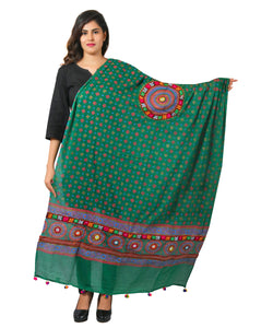 Banjara India Women's Pure Cotton Real Mirrorwork & Hand Embroidery Dupatta (Kutchi Chakkar) Dark Green  - CKR05