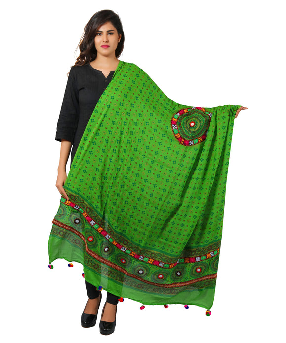 Banjara India Women's Pure Cotton Real Mirrorwork & Hand Embroidery Dupatta (Kutchi Chakkar) Parrot Green - CKR06